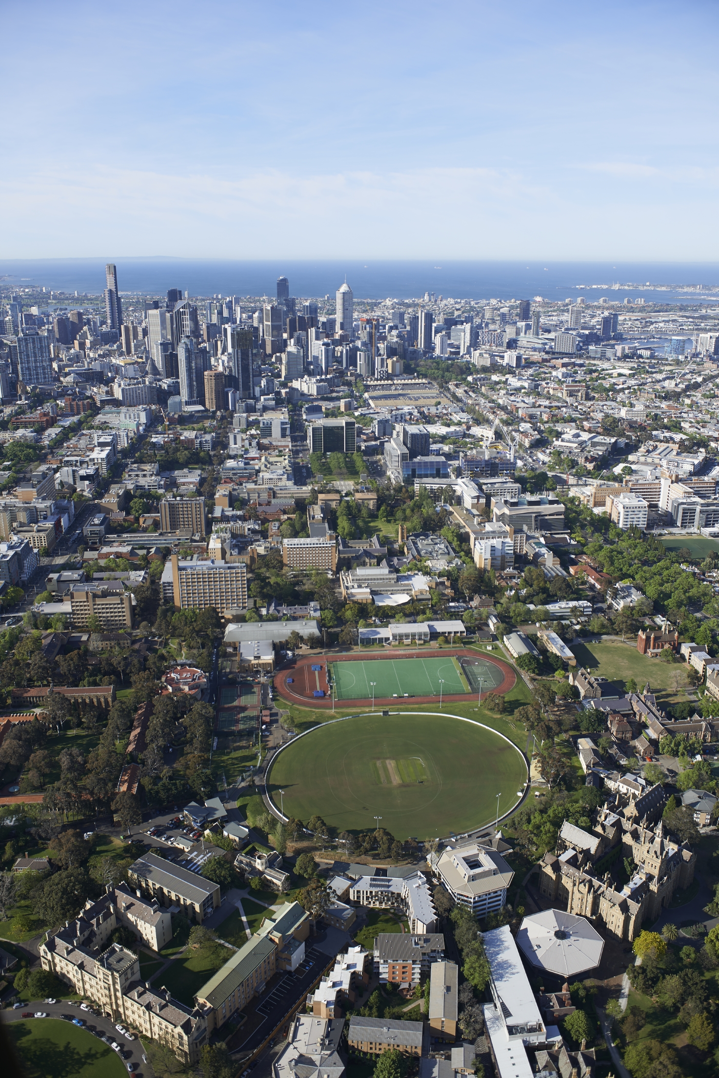 Aerial View Parkville Campus and Melbourne CBD